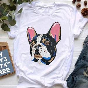 Nouveau Été French Bulldog imprimé T-shirt Femmes Mignon Dessin animé T-shirt Pit Bull Tshirt Top Femme Frances Allemand Shepherd T