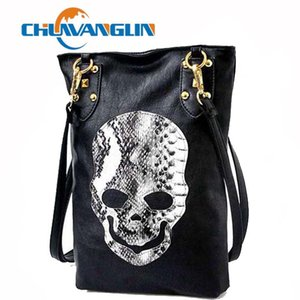 Chuwanglin Punk Siyah Kafatası Yüz Tasarımcısı PU Deri Çanta Kadın Omuz Bayanlar Tote Crossbody Alışveriş Çantası C3662