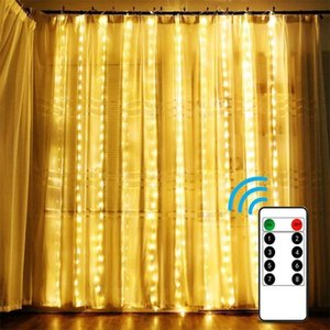 3x2 4x2 Remote Control icicle Curtain Fairy Lights Christmas Lights LED String Lights Garland Party Garden Street Wedding Decor LJ201007