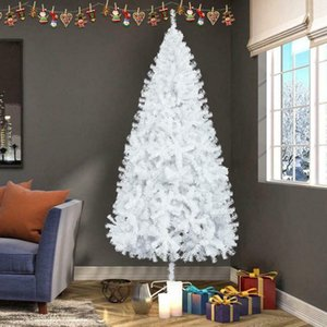 NEW7FT White Christmas Tree W Stand Xmas Holiday Season Decor Indoor Outdoor