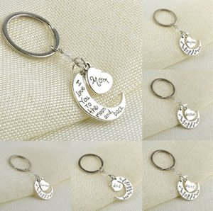 I Love You To the moon and back Letters Metal Keychain Couple Lovers Key Ring Holder Charms Bag Key Pendant Valentine Christmas Gift E112702