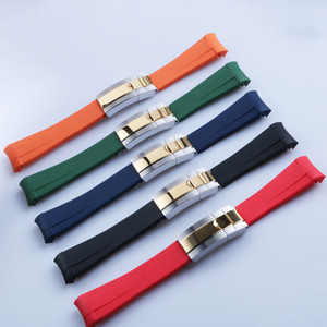 20mm Curved End strap and Middle Gold Polished Clasp Silicone Black Navy Green Orange Red Rubber Watchband For Rol strap SUB GMT Date Master