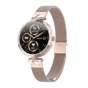 Smart Watch Ak22 Round Touch Sports Music Control Bracelet Female Lady Girl Fashion Band Heart Rate Fitness Tracker Color Screen jllWTN