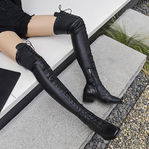 Genuine Leather Square Heels Over The Knee Boots Women Dress Wedding Shoes Woman Round Toe Autumn Boots Large Size 43 201013