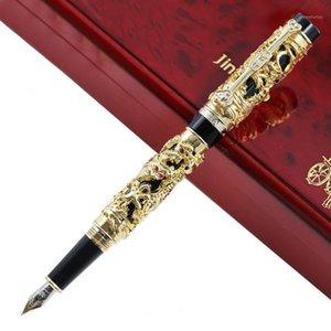 Luxo jinhao metal 3d dragão phoenix caneta vintage 0.5mm penas de tinta nib para escrever escritório de negócios suprimentos presente1