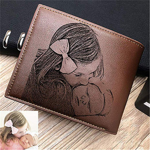 Personalized Trifold Wallet for Him Her Engraved Wallets Men Short Fashion Custom Photo & Words Purse Father's Day Gift Dad Mens J1202