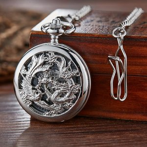 Dragon Phoenix Mechanical Pocket Watch For Men Women Skeleton Roman Numeral Reloj Fob Chain Pendant Mechanisch Zakhorloge Q sqcGlu