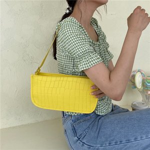 Vintage Crocodile Pattern Women Baguette Handbags Fashion Design Female Simple Shoulder Bags Ladies Zipper Small Tote Armpit Bag Q1129
