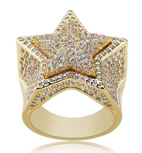 Five Point Star CZ Rings Puffed Marine Micro Paved Full Bling Iced Out Cubic Zircon Luxury Fashion Hiphop Jewelry Gift