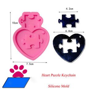 Stampo in silicone portachiavi fai da te silicone puzzle della muffa del cuore per la decorazione della torta fai da te in resina gumpaste il trasporto del fondente mestiere dello zucchero Stampi libero
