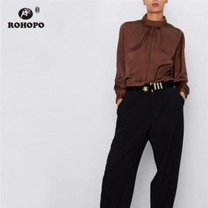 Women's Blouses & Shirts ROHOPO Brown White Stain Long Sleeve Blouse Turtleneck Button Closure Soft Pullover Silky Elegant Solid Tops Blusa