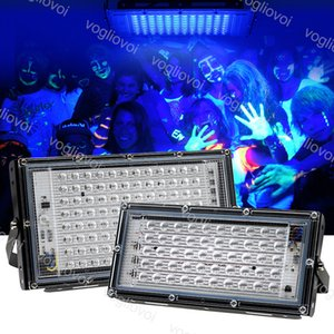 Floodlights 395nm UV Kür Lambası 50 W 100 W 220 V 240 V Su Geçirmez IP65 PC + Floresan Parti Sahne Işıkları Için Alüminyum Açık DHL