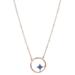 The New Hollowed-out Round Four-pointed Star Necklace is Sweet Simple and Fresh