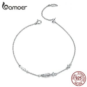 BAMOER Boho Feather Chain Bracelet Sterling Silver 925 Link Bohemia Style Zironia Jewelry Summer Girl Gifts LJ201020