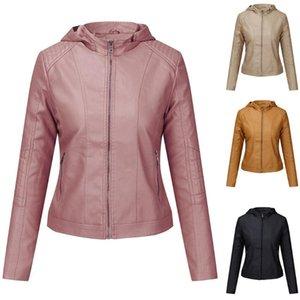 JAYCOSIN Women Fashion Short Coat Faux Leather Zipper Jacket Motorcycle Windbreaker Overcoat Pocket Black Outwears Street 1126
