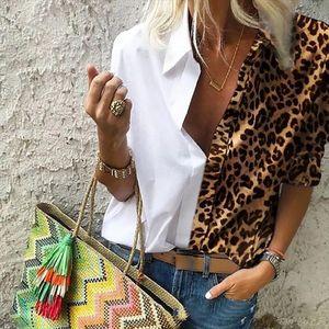 Women Leopard Print Patchwork Blouse Shirts Sexy Deep V Neck Long Sleeve Blouse Tops Elegant Office Lady Blusa Plus Size 5XL