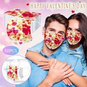 Счастливые День Святого Валентина Женщины Мужчины Дизайнер Маска Лица Одноразовая Маска Взрослый Анти-пыль Защитные Маски Рот Обложка Party Fare Fy0129