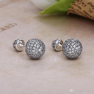 High quality CZ diamond drop earrings for Pandora 925 sterling silver luxury designer jewelry with original box ladies earrings holiday gift