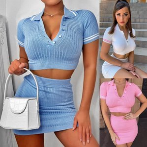 Womens Knitting Ribbed Fashion Two Piece Sets Sexy Short Sleeve Casual Bodycon Outfits Button Crop Tops and Skirts
