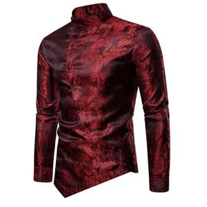 Mens Wine Red Paisley Jacquard Tuxedo Shirt Men Stylish Irregular Hem Mandarin Collar Mens Dress Shirts Wedding Chemise Homme