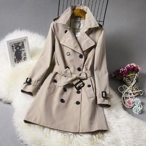Hot New Fashion England Middle Long Damen Trenchcoat Top Qualität Zweireiher Casual Jacke Größe S-2XL