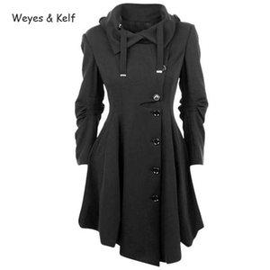 Weyes & Kelf Single-breasted Irregular Hem Flimsy Long Coat Women 2020 Solid Turn-down Collar Windbreaker Female Trench Coat