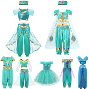New Aladdin Jasmine Princess Dress For Girl Kids Live Action Movie Role Playing Costume 2019 Children Cosplay Frock Party Outfit Z1127