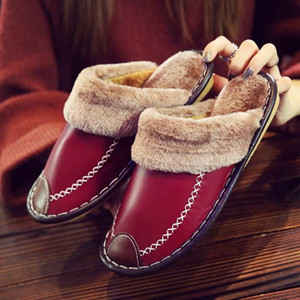 Winter Women Slippers Genuine Leather Home House Indoor Non-Slip Thermal Shoes Men Warm Furry Slippers Plus Size Hot 201125