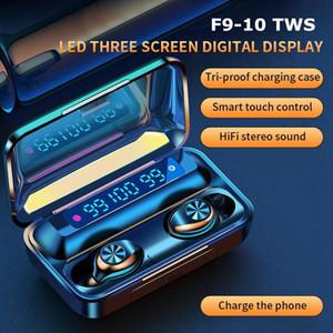 F9-10 TWS Bluetooth sans fil Bluetooth 5.0 Écouteurs invisibles Earbuds Stéréo Montre LED Bruit Annulation de jeu Casque de jeu avec 3 LED Affichage d'alimentation