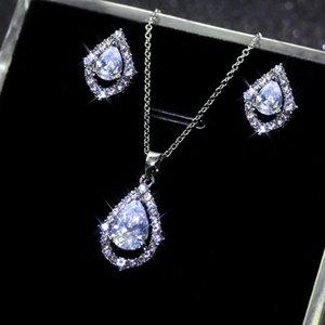 Women Pure White Waterdrop Zircon Necklace Earrings Set New Cubic Zircon Wedding Necklace Earrings Set Jewelry