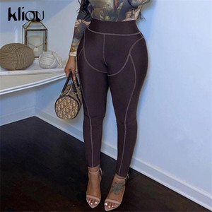 Kliou Patchwork Striped High Waist Stretchy Leggings Women Autumn Casual Skinny Fitness Pants Streetwear Sporty Slim Jeggings