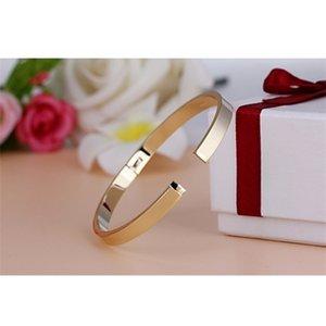 V-308 Luxury Lover Cuff Bracelets&Bangles Top Silver Color Brand Couples Simple Glaze Buckle Love Charm Bracelet For Women Z1124