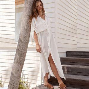 Fashion-Long Beach Cover Up Swimsuit V-neck White Robe Kaftan Swimwear Women Tunic Bathing Suit Ladies Cover-ups Beach Wear