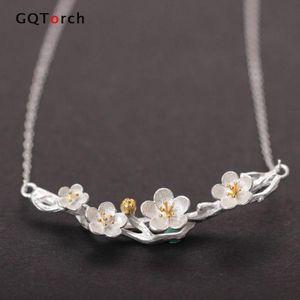 Necklaces & Pendants Vintage Fresh Plum Necklace 925 Sterling Silver Necklace For Women Retro Female Accessories Fine Jewelry Z1126