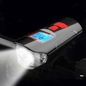 Vélo de vélo Front USB Horn Horn Compteur de vitesse Charging Vélo Vélo Vélo Lampe de poche Lampe de poche Houssine Tête de cyclisme LED lumières Accessoires de vélo Q1202