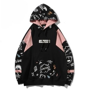 2020 New Devil graffiti print Hoodie men's fashion brand ins loose hip hop couple Pullover HoodieZGHK0LE68T7K