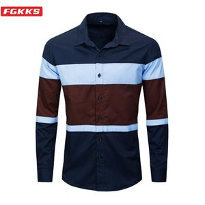 FGKKS Spring Autumn New Men Fashion Shirt Men's Simple Patchwork Shirt Brand Clothing Male Casual Long Sleeve Shirts EU Size