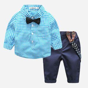طفل الفتيان شهم الملابس مجموعات ربيع الخريف الرضع الأولاد منقوشة قميص + الدنيم الحمالة السراويل 2 قطع مجموعة ملابس الاطفال