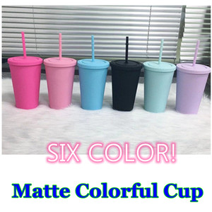 16oz Acrylic Tumblers Matte Acrylic Tumblers with Flat Lid and Colorful Straws Rainbow Plastic Tumbler Water Bottles Summer Cup A13