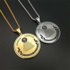 Masonic All Seeing Eye of Providence Pendants Necklaces For Women Men Gold Color Stainless Steel Round Coin Hip Hop Jewelry