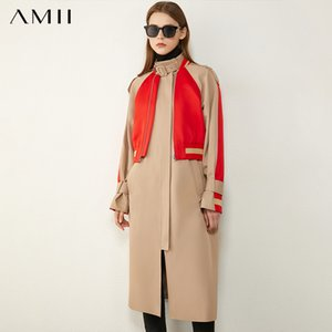 Amii Minimalism Winter Fashion Women's Trench Coat Causal StandCollar Patchwork Women's Trench Coat Women's Trench Coat 12070382 201124