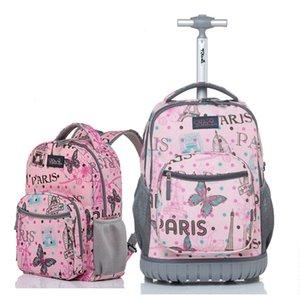 LeTrend carino sacchetti dei bambini del fumetto di viaggio Bagagli di rotolamento Set multifunzione Studenti spalla Valigia Ruote Carry On Trolley LJ201118