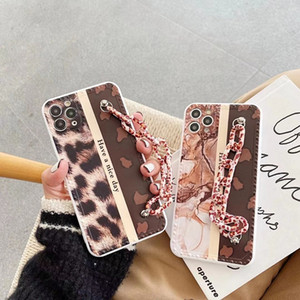 Wristband Leopard Print Back Cover Full Protective Marble Pattern Phone Shell Anti-fall for iPhone 12 Mini 11 Pro Max XR XS 8 Plus