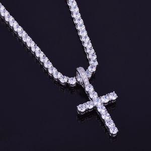 Zircon Cross Pendant with 4mm Tennis Chain Necklace Set Men's Hip Hop Jewelry Gold Silver CZ Pendant Necklace