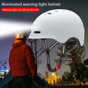 Велосипедный шлем Дорога Велоспорт MTB Горный велосипед Шлем Регулируемый с внутренним светодиодным освещением Предупреждение освещения Индикатор безопасности Ночь Q0120