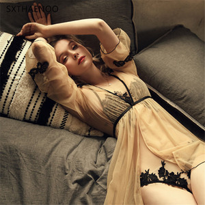 Sxthaenoo 패션 잠옷 유혹 자수 가정 의류 여성 란제리 Femme 섹시한