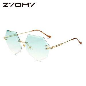 Marca Zyomy Zyomy Ladies Eyewear UV400 Frame Q Polygon Gradient Colors Sunglasses Lens 2020 Designer CTRNS