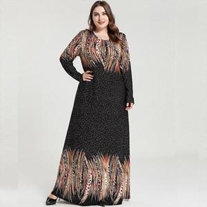 2020 Spring Autumn Women Long Sleeve Dress Plus Size Female Dot Striped Print Casual Dress Loose Oversized Maxi Long Dresses
