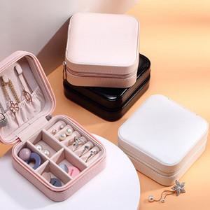 PU Jewelry Box Monolayer Jewel Case Ear Studs Zipper Storage Box Ornaments Jewelry Ring Boxes Storage Bins GGA3826-4