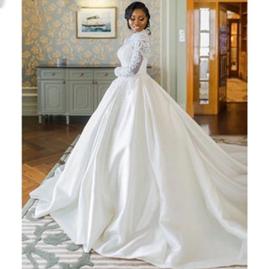 Lace Long Sleeves 2021 Wedding Dresse High Neck Satin Lace Applique Wedding Bridal Gowns With Zipper Back vestido de noiva
